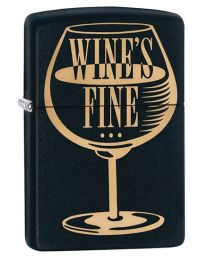 Wines Fine Zippo Lighter in Black Matte 29611