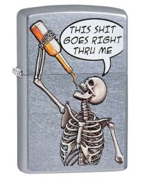 Drinking Skeleton Zippo Lighter in Street Chrome 29613