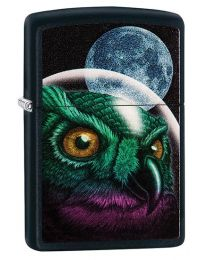 Space Owl Zippo Lighter in Black Matte 29616