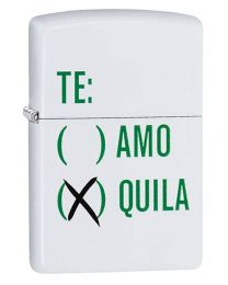 Tequila Design Zippo Lighter in White Matte 29617