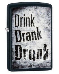 Drink Drank Drunk Zippo Lighter in Black Matte 29618