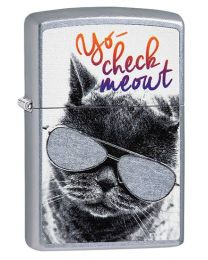 Cat With Glasses Zippo Lighter in Street Chrome 29619