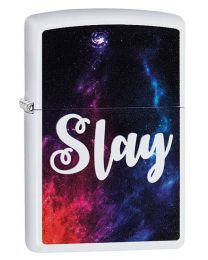 Slay Zippo Lighter in White Matte 29620