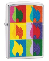 Abstract Flame Design Zippo Lighter in Brushed Chrome 29623