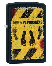 Feet Hazard Zippo Lighter in Black Matte 29624