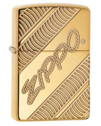 Armor Coiled Zippo Lighter in Polished Brass 29625