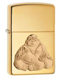 Happy Buddha Brass Emblem Zippo Lighter 29626
