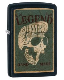 Legendary Skull Design Zippo Lighter in Black Matte 29630