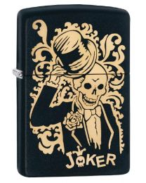 Skull Joker Zippo Lighter in Black Matte 29632