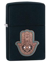 Hamsa Hand Emblem Zippo Lighter in Black Matte 29634