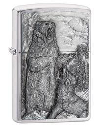 Bear Vs Wolf Zippo Lighter in Brushed Chrome 29636