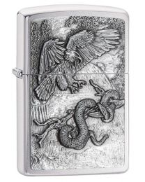 Eagle Vs Snake Zippo Lighter in Brushed Chrome 29637