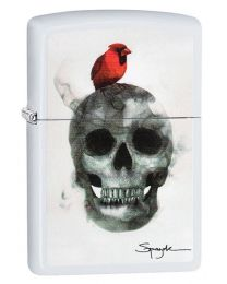 Spazuk Zippo Lighter - Flame Art Cardinal Skull in White Matte 29644