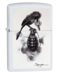 Spazuk Zippo Lighter - Flame Art Bird Grenade in White Matte 29645