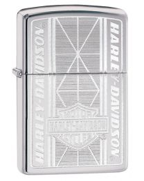 Harley Davidson Diagonal Design Zippo Lighter in Polished Chrome 29655