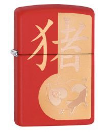 Year Of The Pig Zippo Lighter in Matte Red 29661