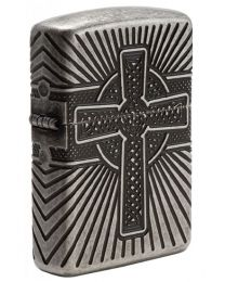 Armor Celtic Cross Design Zippo Lighter in Antique Silver Plate 29667