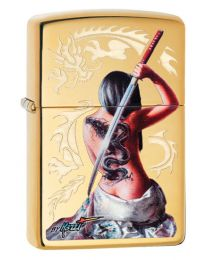 Mazzi Dragon Girl Zippo Lighter in Polished Brass 29668