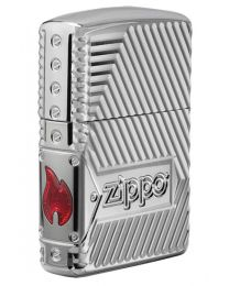 Armor Bolts Design Zippo Lighter in Polished Chrome 29672