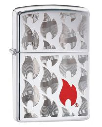 Zippo Flames Design Zippo Lighter in Polished Chrome 29678