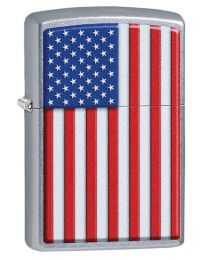 Patriotic Zippo Lighter in Street Chrome 29722