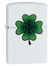 Clover Design Zippo Lighter in Matte White 29723