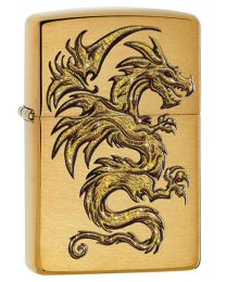 Dragon Design Zippo Lighter in Brushed Brass 29725