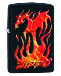 Zippo Flaming Dragon Design Zippo Lighter in Matte Black 29735