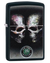 Anne Stokes Tattoo Skulls Zippo Lighter in Matte Black 29754