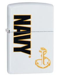 US Navy Anchor Zippo Lighter in Matte White 29761