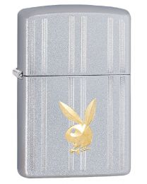 Playboy Stripes And Bunny Head Zippo Lighter in Satin Chrome 29777