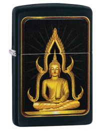 Buddha Zippo Lighter in Matte Black 29836