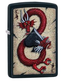 Dragon Ace Design Zippo Lighter in Matte Black 29840