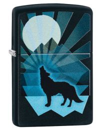 Wolf And Moon Design Zippo Lighter in Matte Black 29864
