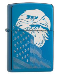 Eagle And Flag Design Zippo Lighter in Sapphire 29882