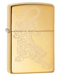 Tattoo Tiger Design Zippo Lighter in Polished Brass 29884