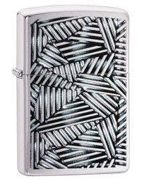 Line Grid Zippo Lighter in Brushed Chrome 29885