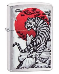 Asian Tiger Design Zippo Lighter in Brushed Chrome 29889
