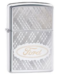 Ford Script Patterned Zippo Lighter in Polished Chrome 29892