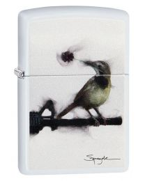 Spazuk Bird Bullet Hole Zippo Lighter in Matte White 29895