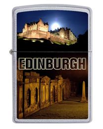 Edinburgh Castle Zippo Lighter in Satin Chrome