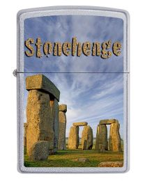 Stonehenge Zippo Lighter in Satin Chrome