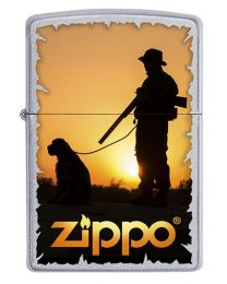 Hunter Gundog Sunset Zippo Lighter in Satin Chrome