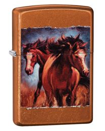 Vintage Horses Zippo Lighter in Toffee 60003301