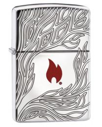 Zippo Flame Zippo Lighter in Armor Polished Chrome 60003416