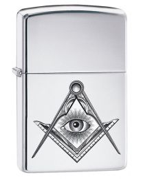 Compass Eye Masonic Zippo Lighter in Polished Chrome 60003451