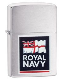 Royal Navy Logo Zippo Lighter in Brushed Chrome 60003645