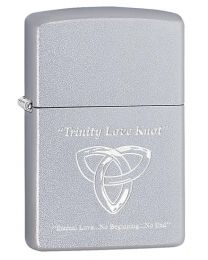Trinity Love Knot Zippo Lighter in Satin Chrome 60003653