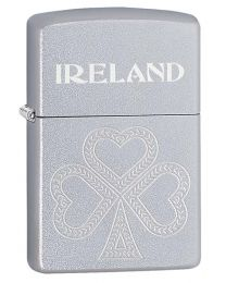 Shamrock Zippo Lighter in Satin Chrome 60003660