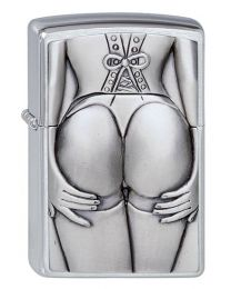 Stocking Girl Zippo Lighter in Brushed Chrome 1300116